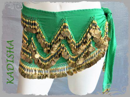 Hüfttuch in grün mit vielen Münzen und Perlen in Gold Größe M