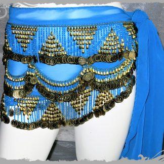 Hüfttuch in türkis mit goldenen Münzen, Größe L