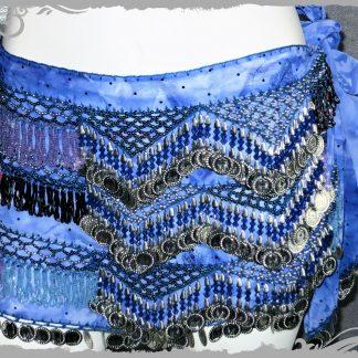 Hüfttuch in royalblau mit silbernen Münzen und pink/fliedernen Perlen, Größe L