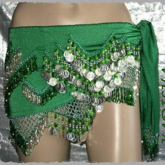 Hüfttuch in grün mit silbernen Münzen und grünen Perlen, Größe S