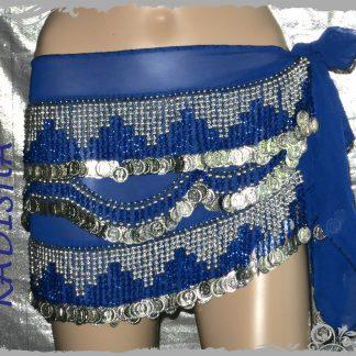 Hüfttuch in blau mit silbernen Münzen und blauen Perlen, Größe M