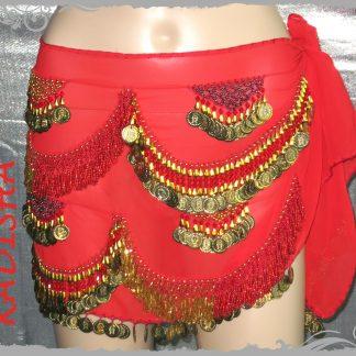 Hüfttuch in rot mit goldenen Münzen und roten Perlen, Größe M