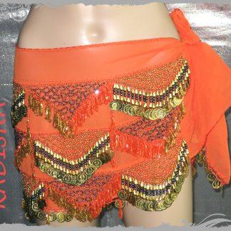 Hüfttuch in orange mit goldenen Münzen, GrößeXL