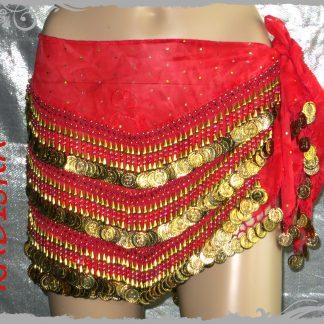 Hüfttuch in rot mit goldenen Münzen und Perlen, GrößeXL