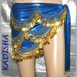 Hüfttuch in blau mit goldenen Münzen und Perlen, Größe M