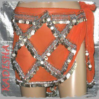 Hüfttuch in orange mit silbernen Münzen und Perlen, Größe L