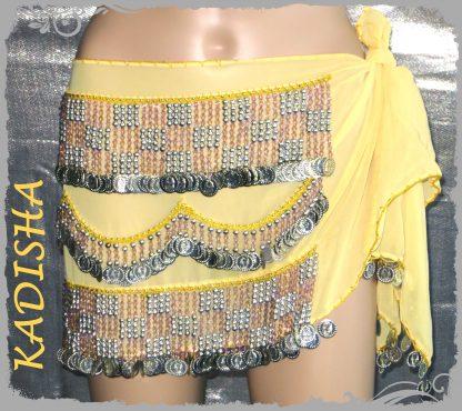 Hüfttuch in gelb mit silbernen Münzen und fliederfarbenen Perlen, Größe M