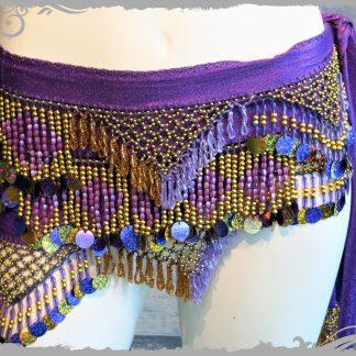 Hüfttuch in lila mit goldenen und lila Perlen sowie Plättchen, Größe L