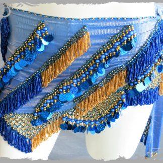 Hüfttuch in blau mit goldenen und blauen Perlen sowie Plättchen, Größe M