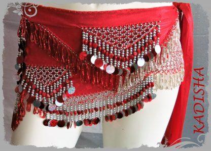 Hüfttuch in rot mit silbernen Perlen sowie Plättchen, Größe M