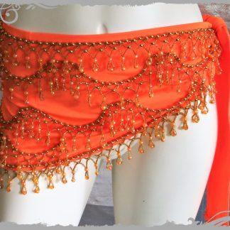Hüfttuch in orange mit goldenen Perlen, Größe M