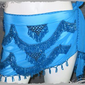 Hüfttuch in türkis mit türkisfarbigen Perlen, Größe XXL