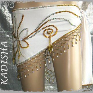 Hüfttuch in weiß mit goldenen und silbernen Perlen , Größe XL