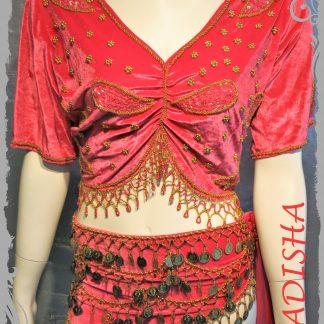 Set Oberteil Kurzarm und Hüfttuch in rosa, 2-tlg. Größe XL