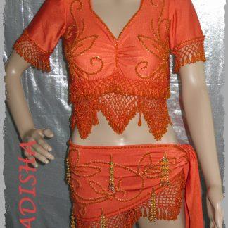 Set Oberteil und Hüfttuch orange. Größe L
