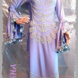 Stocktanzkleid aus Lycra in flieder mit silber, Größe M