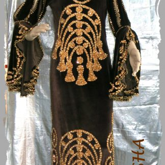 Stocktanzkleid aus Stretchsamt in braun mit gold bestickt, Größe S