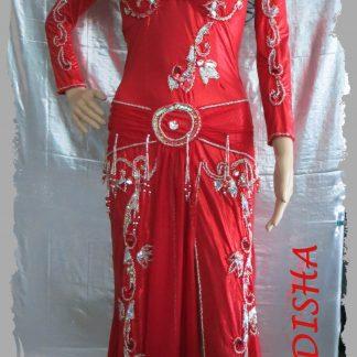Bauchtanzkleid in rot und silber aus Glanz-Lycra, Größe S