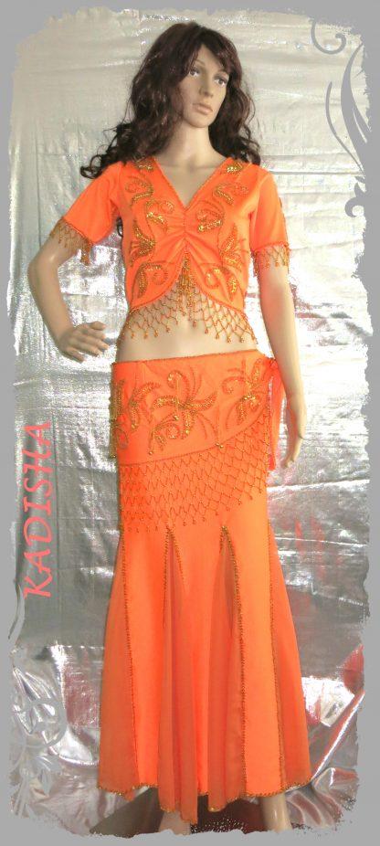 Set Oberteil Kurzarm und Hüfttuch in orange mit goldenen Perlen und Rock in orange, 3-tlg., Größe S