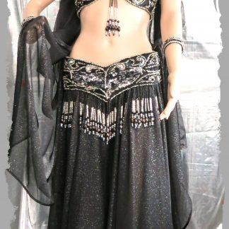 BH und Gürtel mit Rock und Schleier in schwarz und silber, Größe M bis L
