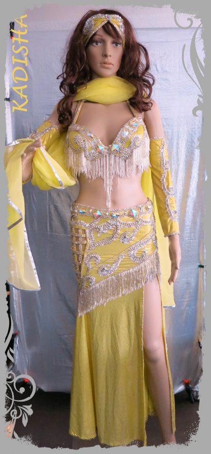 Kostüm mit Armstulpen, Stirnband und Schleier in gelb/silber, Größe XS