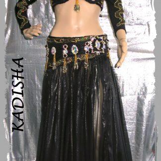 Kostüm 4-tlg. mit Armstulpen in schwarz mit Gold und großen Strass-Steinen, Größe S