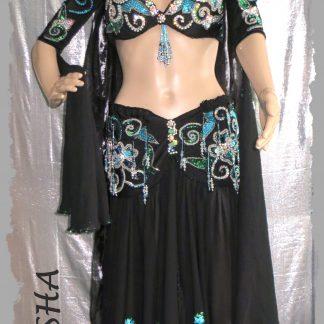 Kostüm mit Armstulpen, Stirnband und Schleier in schwarz-türkis und silber, Größe ?