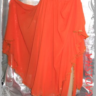 Bestickter Rock aus Chiffon in Orange / Gold