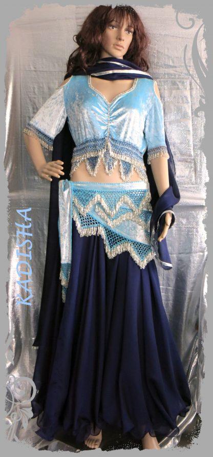 Kombi 4-tlg. aus Spiegelsamt in eisblau/nachtblau, Größe XL