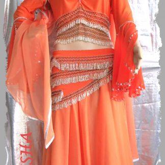 Kombi 4-tlg. in orange mit langen Ärmeln, Größe XL