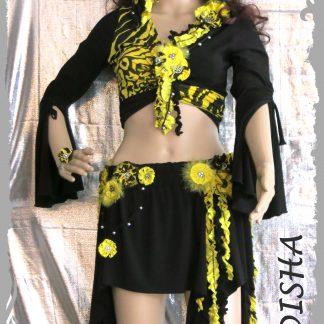 Blumengürtel und Wickeloberteil schwarz/gelb 5-tlg. Größe M